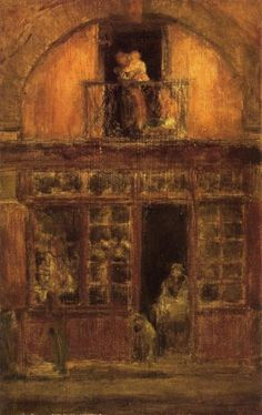 A Shop with a Balcony, James McNeill Whistler. American Tonalist Painter and Printmaker, (1834-1903)