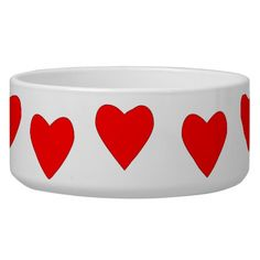 hearty red heart dog water bowl