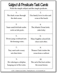 Subject and Predicate Task Cards freebie from Laura Candler's Teaching Resources - great for cooperative learning lessons