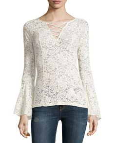 Lace+Top+W/+Bell+Sleeves,+Beige+by+Romeo+&+Juliet+Couture+at+Neiman+Marcus+Last+Call.