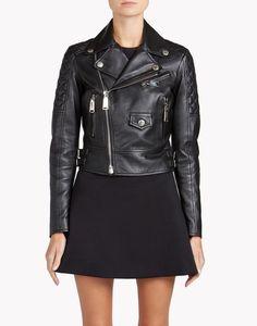 leather biker jacket coats & jackets Woman Dsquared2