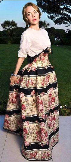 ULYANA SERGEENKO. That cinched floral striped dress, I love it!