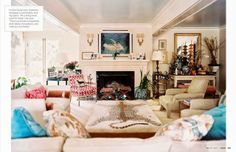 love the layers in this living room