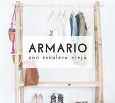 Crea un original armario/perchero con una escalera vieja
