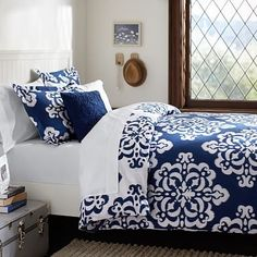 loving the nave blue look for my new duvet cover but would need to design my room around it... Ikat Medallion Duvet Cover + Sham, Royal Navy #pbteen