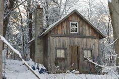 Sawmill River cabin on Red Fire Farm, Montague, Massachusetts.