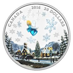 Canada 20 Dollars Silver Coin 2016 Venetian Glass Angel The tranquil winter scene on this coloured coin is infinitely more enticing w. Mint Coins, Silver Coins, Venetian Glass, Murano Glass, Canadian Things, Comfort And Joy, Canada, Silver Bullion, Proof Coins