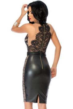 Black Bodycon Leather Dress With Lace Nude Illusion Top