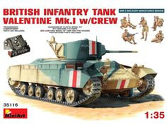 The MiniArt British Valentine Mk.I with Crew and Interior in 1/35 scale from the plastic tank models range accurately recreates the real life British infantry tank and soldiers from World War II.  This plastic tank kit requires paint and glue to complete.