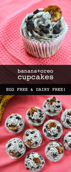 Vegan banana oreo cupcakes - perfect for bake sales and those who love bananas! - For the love of cupcakes - Vegan banana oreo cupcakes - perfect for bake sales and those who love bananas! - For the love of cupcakes - Vegan Dessert Recipes, Delicious Vegan Recipes, Vegan Sweets, Cupcake Recipes, Delicious Desserts, Cupcake Cakes, Breakfast Recipes, Banana Cupcakes, Vegan Cupcakes