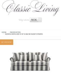 """""""Kenya sofa"""" er en klassisk og tidløs sofa med meget god sittekomfort fra @classicliving  En sofa man får lyst til å krype opp i. 4 store og 2 små puter medfølger.  Mål:  L:  220 cm D:  97 cm H:  86 cm  For mer informasjon: se www.classicliving.no"""