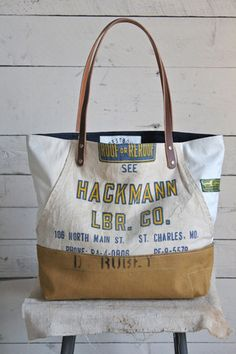 WWII era Canvas & Lumber Apron Carryall - FORESTBOUND
