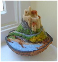 In a nutshell no.5 - Lindisfarne Castle - needle felted SShaw
