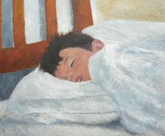 retrato al oleo de un niño durmiendo