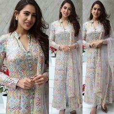 Sara Ali Khan In A Suit ,Hand Embroidered Dress Indian Style, Indian Dresses, Indian Outfits, Shadi Dresses, Indian Attire, Indian Wear, Simple Kurta Designs, Neck Designs For Suits, Suit Neck Design