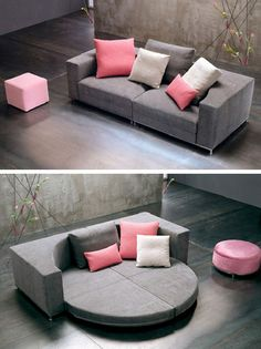 20 Colorful, Creative, and Comfy Couches | Brit + Co. This is awesome... Not the color but the design
