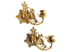 Wall Sconce Griffin / Piano Candle holders / Pair Antique Solid Brass Victorian Griffin Piano Candelabra / piano candle holder.