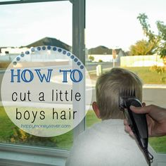 How to Cut Your Little Boys Hair - Lots of pictures and a guide to help you learn. #haircut #diyhaircut (Happymoneysaver.com)