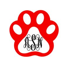 Paw Print Monogram Vinyl Name Decal Paw Print by SouthernMissVinyl