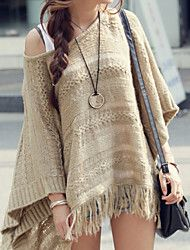 Women's Casual All Match Round Batwing Sleeve Pullover with Tassels