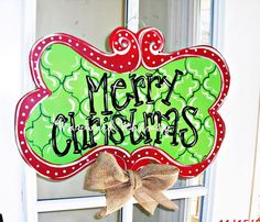 Christmas Wood Cut Out Door Hanger by TheWaywardWhimsy on Etsy