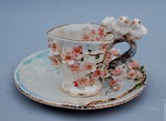 """Купить """"Любовь и голуби"""" - кофейная пара, чайная пара, чашка с блюдцем, чашка для кофе"""