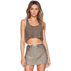 Raga Glitz & Glam Crop Top Tops (€43) ❤ liked on Polyvore featuring tops, fashion tops, crop top, sequin top, brown tops, brown crop top and sequin crop top