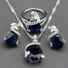 Zafiro azul blanco cristal de joyería de plata Set para mujeres pendientes…