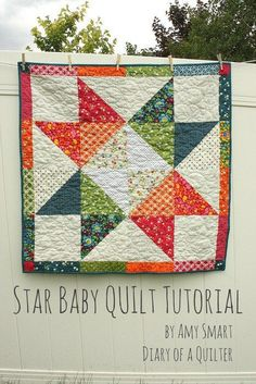 Layer Cake Star Baby Quilt Tutorial @ Diary of a Quilter Big Block Quilts, Star Quilts, Easy Quilts, Mini Quilts, Quilt Blocks, Star Blocks, Baby Quilt Tutorials, Quilting Tutorials, Quilting Projects