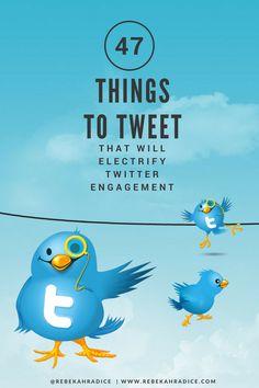47 Things to Tweet That Will Electrify Twitter Engagement via @RebekahRadice Facebook Marketing, Business Marketing, Content Marketing, Online Marketing, Affiliate Marketing, Digital Marketing, Facebook Users, Le Social, Social Media Plattformen