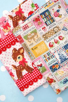 Japanese Lecien Fabric, Deers and Stamps