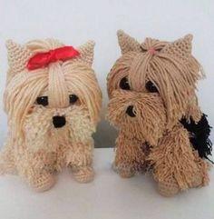 Bela cães crochet fios padrões com tutorial explicando passo a passo - PATTERNS GRÁTIS