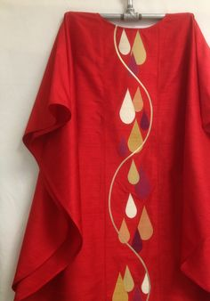 Pentecost chasuble of silk dupioni and gold lame' made to match a client's stole.