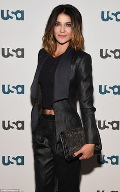 Stunner: Jessica Szohr attended the USA Network Upfront presentation on Tuesday in New York City, looking amazing in a midriff-baring black suit