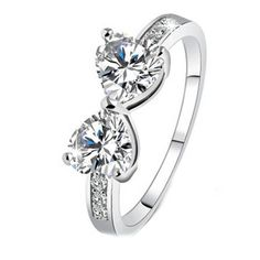 18K Gold Plated White Gold Finish Double Heart CZ Ring Sz 6-9