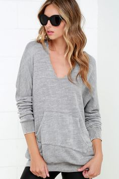 Project Social T Sleep Over Grey Hoodie at Lulus.com!