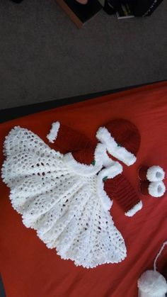 Items similar to Christmas. crochet baby dress outfit with jacket, hat and shoes on Etsy Christmas. crochet baby dress outfit with jacket hat and Crochet Baby Blanket Beginner, Baby Girl Crochet, Crochet Baby Clothes, Crochet For Kids, Baby Knitting, Christmas Crochet Patterns, Christmas Knitting, Crochet Christmas, Crochet Dress Outfits