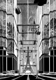Dessin pour l'affiche de l'exposition « Revoir Paris », François Schuiten, 2014.