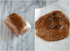 The dough for gingerbread wrapped in plastic wrap next to another photo of the dough rolled out and gingerbread men cookie cutters cutting out cookies. Soft Gingerbread Cookie Recipe, Gingerbread Man Cookie Cutter, How To Make Gingerbread, Christmas Gingerbread Men, Cookie Cutters, Christmas Parties, Christmas Treats, Christmas Recipes, Christmas Cookies