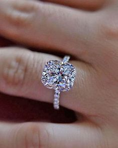 Wow cushion engagement ring. #cushioncut #cushioncutdiamond #engagementring #sayyes #engagementrings