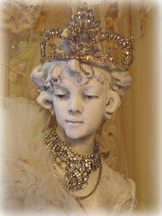 Art Nouveau Lady/Maiden Bust  Statue Display Hair Jewels, Crown Jewels, Jeweled Shoes, Mannequin Heads, Art Nouveau Jewelry, French Cottage, Crown Hairstyles, Absolutely Fabulous, Tiaras And Crowns