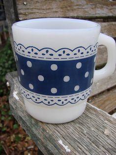 Blue and White Polka Dot Coffee Mug - Fire King