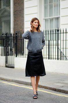 Hanneli Mustaparta- grey knit and black skirt- Lady Prim perfection