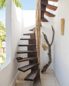 A boho-chic Airbnb on Mexico's charming Holbox Island, Casa Impala mixes splendid rustic aesthetics with a sense of comfort. Spiral Staircase Kits, Staircase Design, Stair Design, Staircase Ideas, Outside Stairs Design, Winding Staircase, Open Staircase, Spiral Staircases, Stair Kits