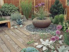 Desert, Xeriscape and Rock Gardens: Consider using gravel and timbers rather than grass, and then add plants that thrive in arid conditions. From DIYnetwork.com