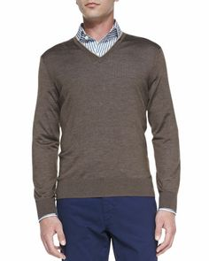Cashmere-Silk V-Neck Sweater, Mushroom Fog by Ermenegildo Zegna at Neiman Marcus.