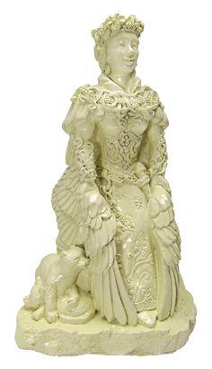 Freya Statue - Norse Goddess Viking Statuary - Small Dryad Design Bone or Stone Finish Freyja and her Cats Statue