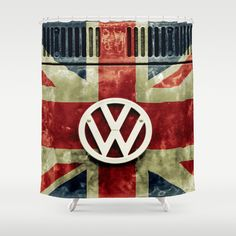 VW Retro Union Jack Shower Curtain by Alice Gosling - $68.00  #shower #bath #VW #Volkswagen #UnionJack #flag #England #Campervan #Rusty #Retro
