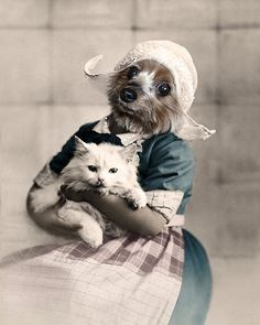 Gerda - Vintage Yorkie 5x7 Print - Anthropomorphic - Altered Photo - Dog Art - Digital Art - Photo Collage - Whimsical - Pet Portrait