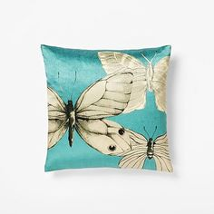 Art wing. This pillow features a hand-painted butterfly created by one of our skilled in-house artists. We digitally printed it onto 100% silk satin. #westelm